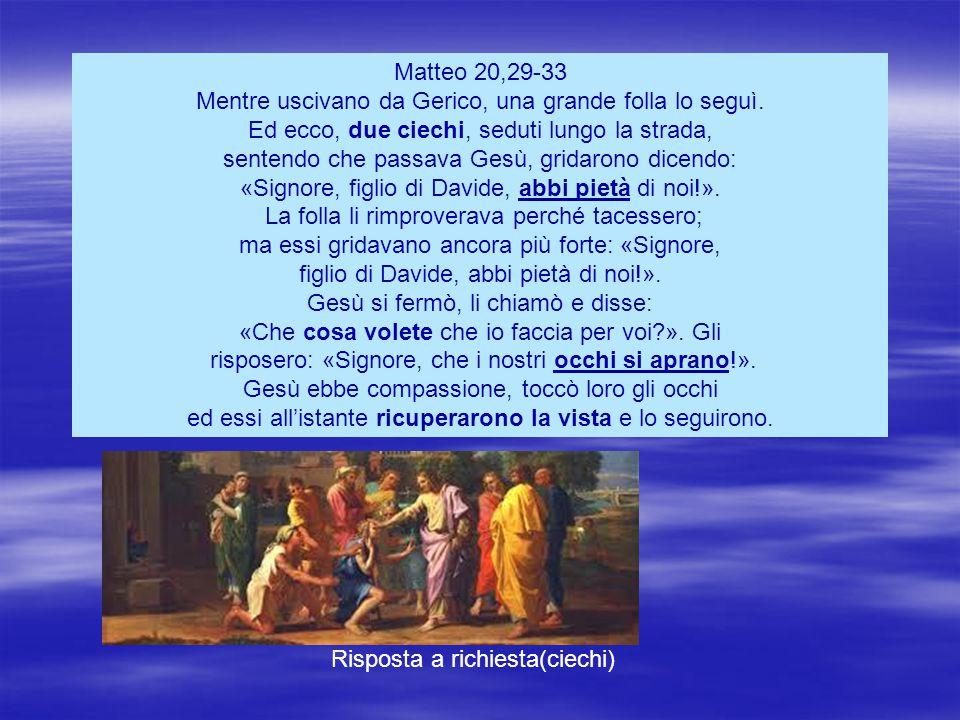 Matteo 20,29-33 Mentre uscivano da Gerico, una grande folla lo seguì.