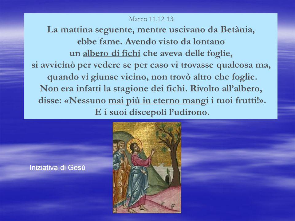 Marco 11,12-13 La mattina seguente, mentre uscivano da Betània, ebbe fame.