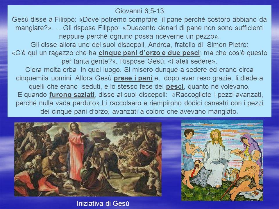 Giovanni 6,5-13 Gesù disse a Filippo: «Dove potremo comprare il pane perché costoro abbiano da mangiare?».