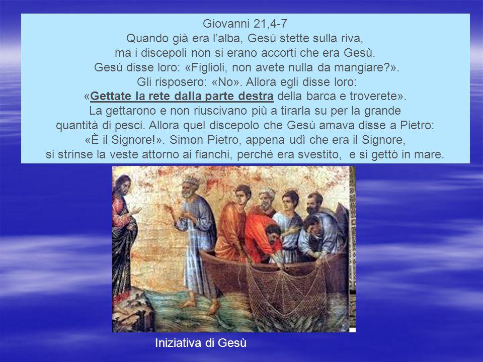 Giovanni 21,4-7 Quando già era l'alba, Gesù stette sulla riva, ma i discepoli non si erano accorti che era Gesù.