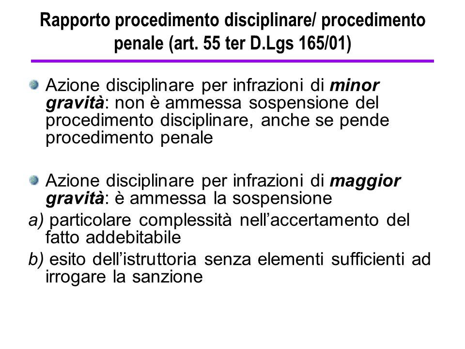 Rapporto procedimento disciplinare/ procedimento penale (art. 55 ter D.Lgs 165/01) Azione disciplinare per infrazioni di minor gravità: non è ammessa