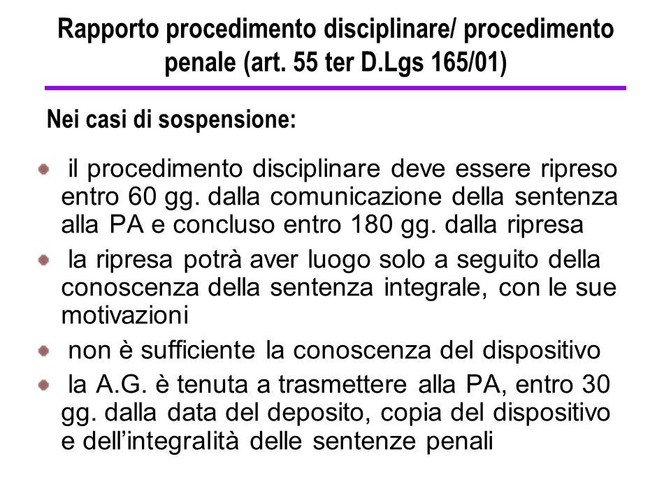 il procedimento disciplinare deve essere ripreso entro 60 gg. dalla comunicazione della sentenza alla PA e concluso entro 180 gg. dalla ripresa la rip
