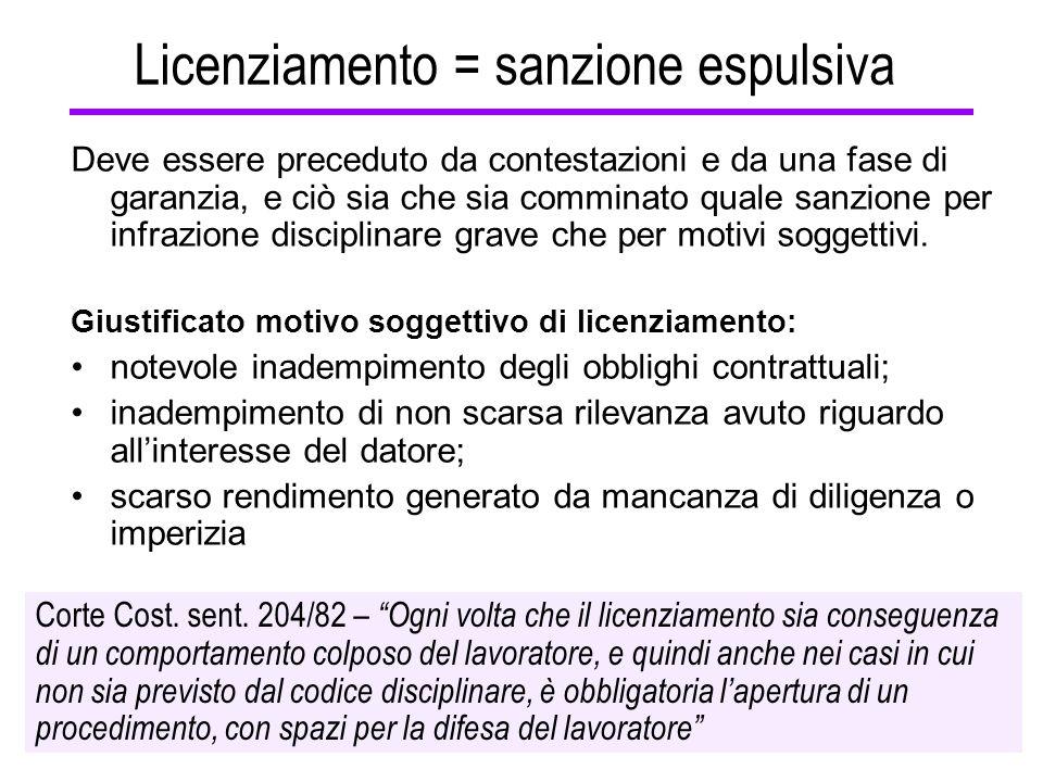 Licenziamento = sanzione espulsiva Deve essere preceduto da contestazioni e da una fase di garanzia, e ciò sia che sia comminato quale sanzione per in