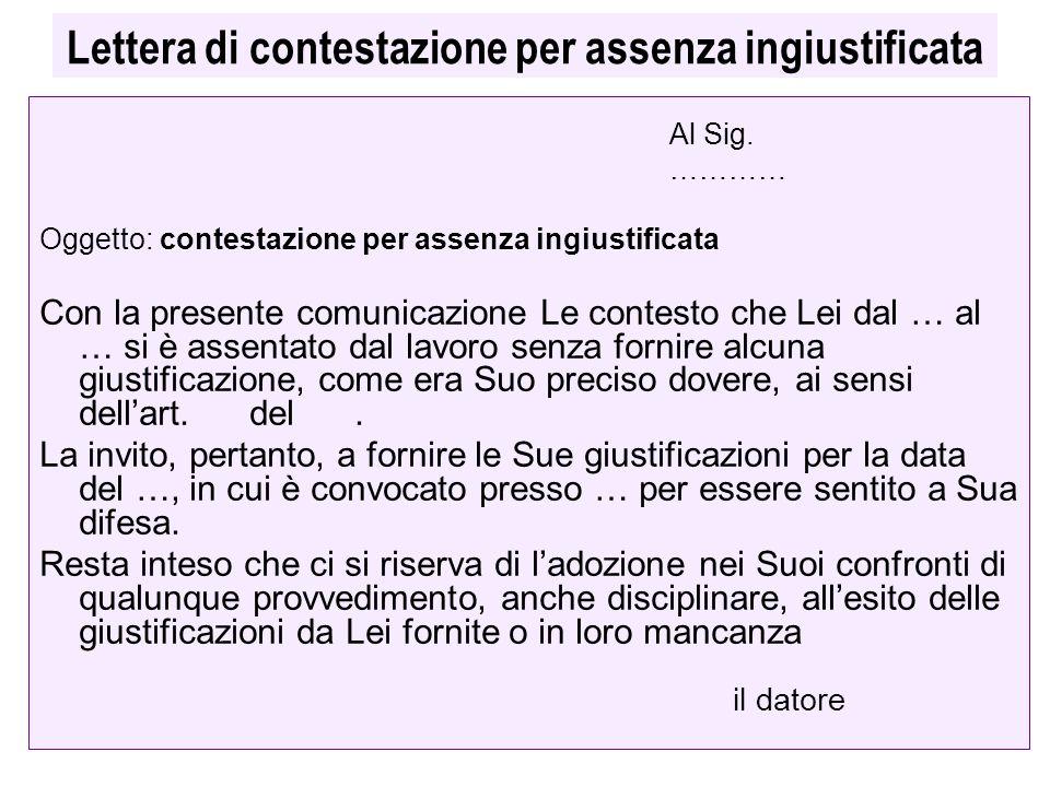 Lettera di contestazione per assenza ingiustificata Al Sig. ………… Oggetto: contestazione per assenza ingiustificata Con la presente comunicazione Le co
