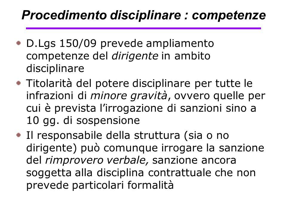 Procedimento disciplinare : competenze D.Lgs 150/09 prevede ampliamento competenze del dirigente in ambito disciplinare Titolarità del potere discipli