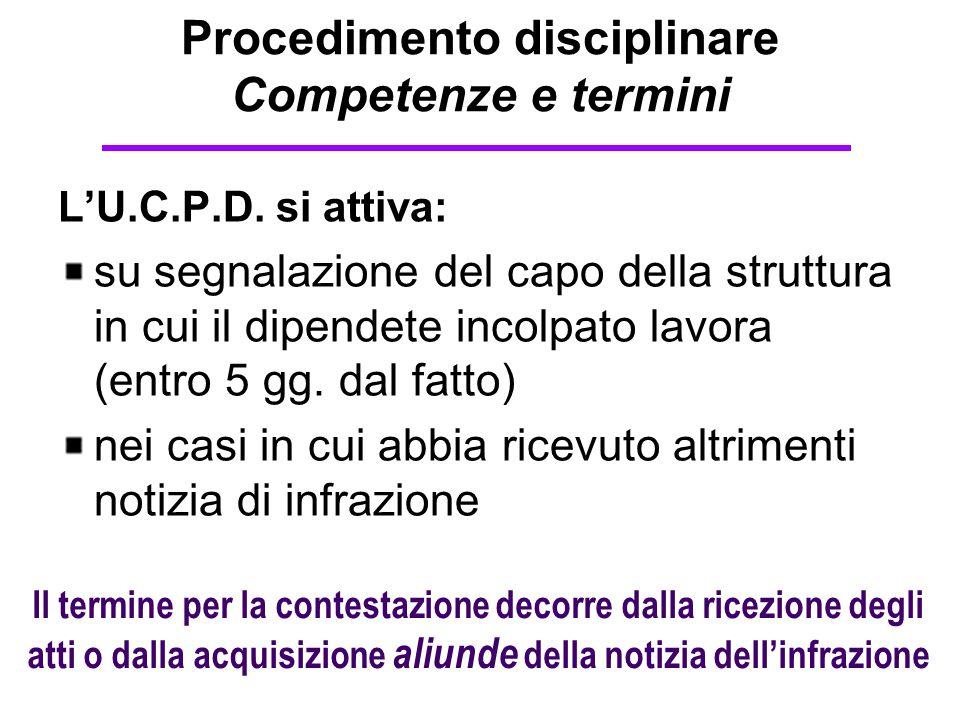 Procedimento disciplinare Competenze e termini L'U.C.P.D. si attiva: su segnalazione del capo della struttura in cui il dipendete incolpato lavora (en