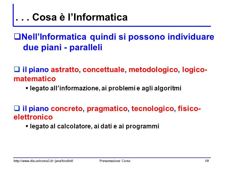 http://www.dia.uniroma3.it/~java/fondinf/Presentazione Corso 10... Cosa è l'Informatica  Nell'Informatica quindi si possono individuare due piani - p