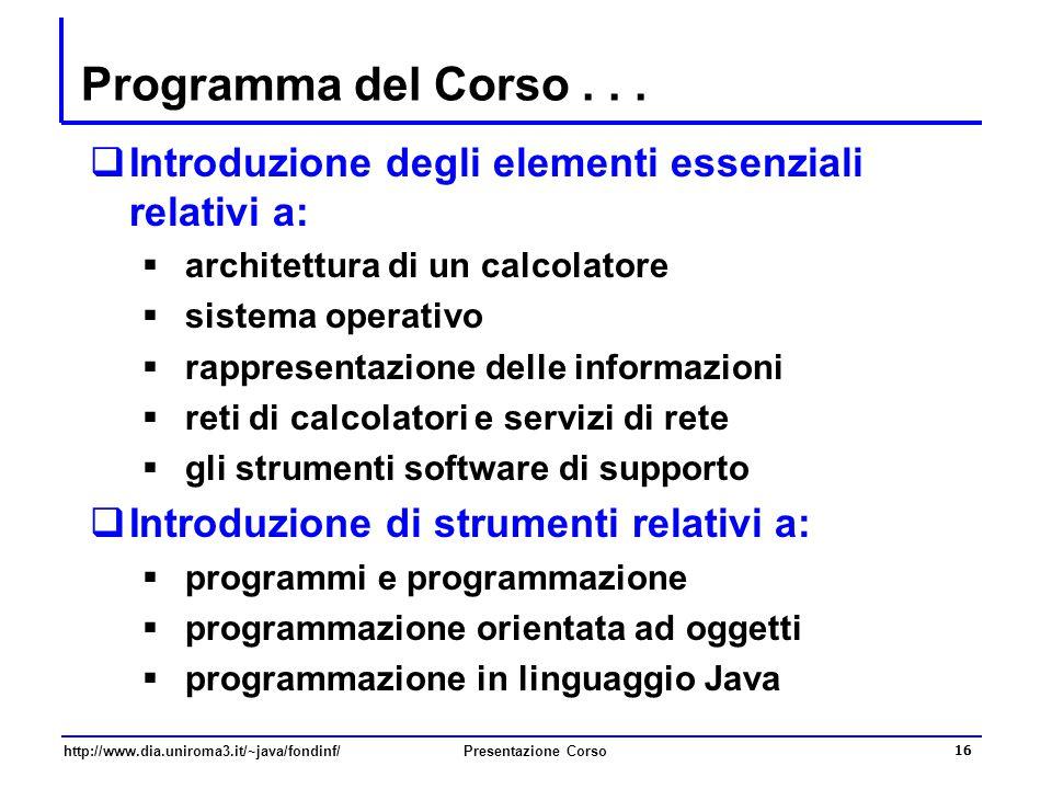 http://www.dia.uniroma3.it/~java/fondinf/Presentazione Corso 16 Programma del Corso...  Introduzione degli elementi essenziali relativi a:  architet