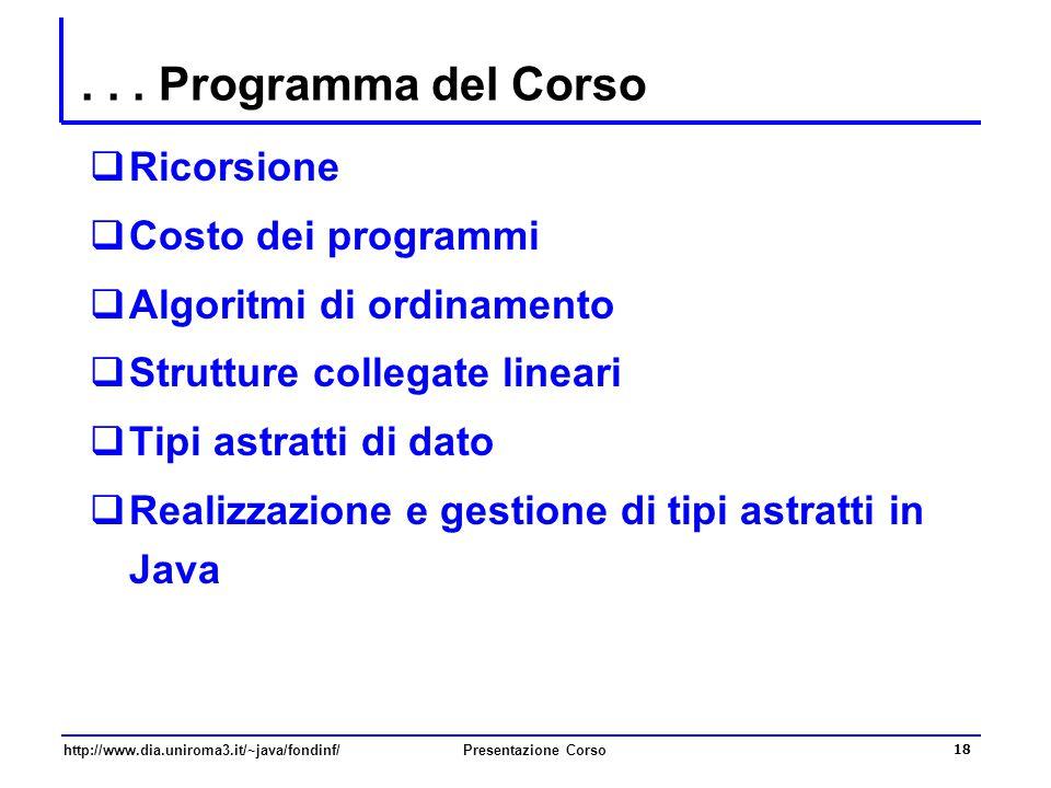 http://www.dia.uniroma3.it/~java/fondinf/Presentazione Corso 18... Programma del Corso  Ricorsione  Costo dei programmi  Algoritmi di ordinamento 