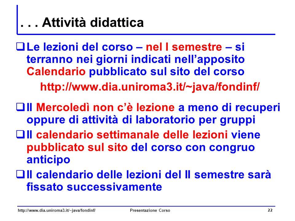 http://www.dia.uniroma3.it/~java/fondinf/Presentazione Corso 22... Attività didattica  Le lezioni del corso – nel I semestre – si terranno nei giorni