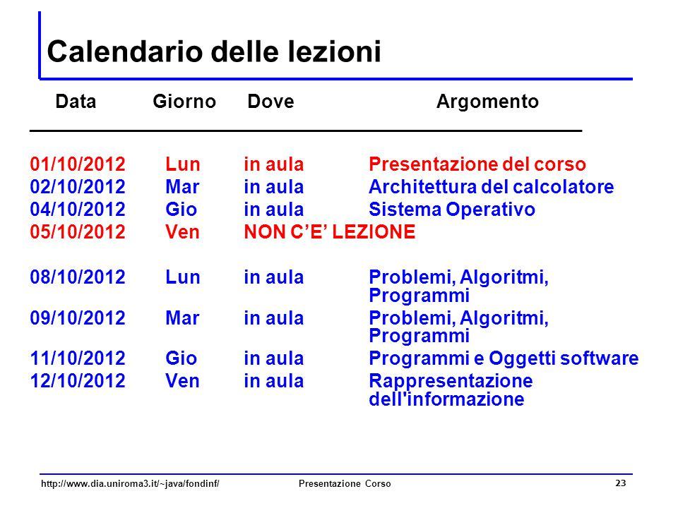 http://www.dia.uniroma3.it/~java/fondinf/Presentazione Corso 23 Calendario delle lezioni Data Giorno Dove Argomento __________________________________