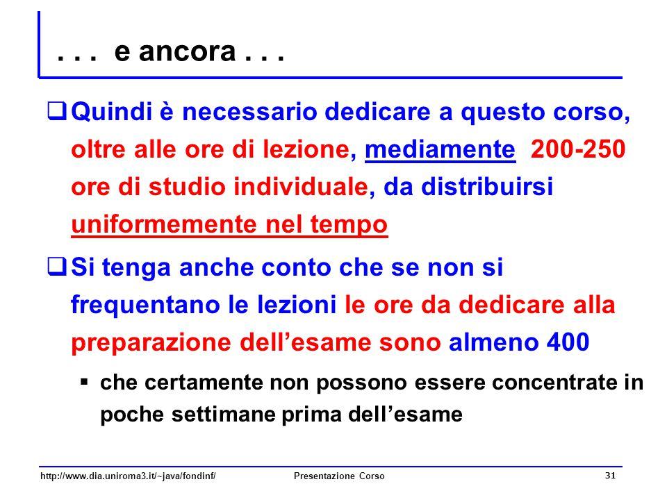 http://www.dia.uniroma3.it/~java/fondinf/Presentazione Corso 31... e ancora...  Quindi è necessario dedicare a questo corso, oltre alle ore di lezion