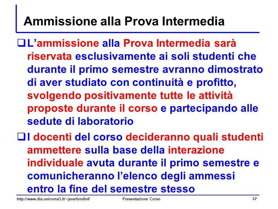 http://www.dia.uniroma3.it/~java/fondinf/Presentazione Corso 37 Ammissione alla Prova Intermedia  L'ammissione alla Prova Intermedia sarà riservata e