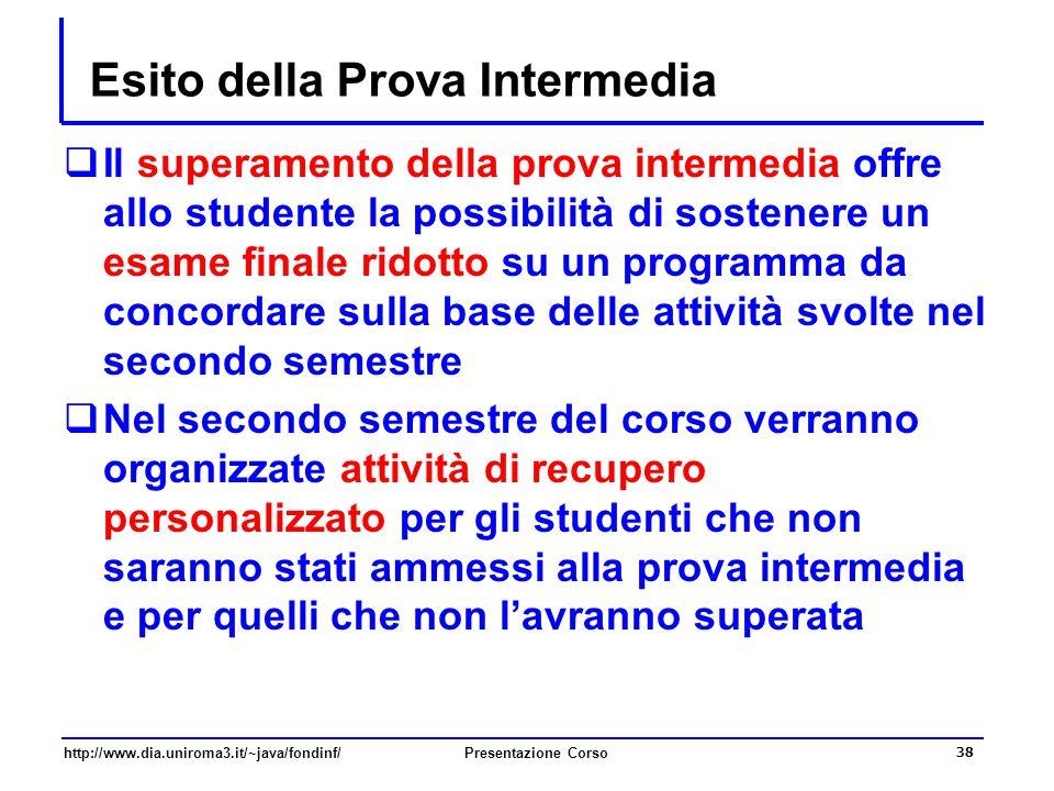 http://www.dia.uniroma3.it/~java/fondinf/Presentazione Corso 38 Esito della Prova Intermedia  Il superamento della prova intermedia offre allo studen
