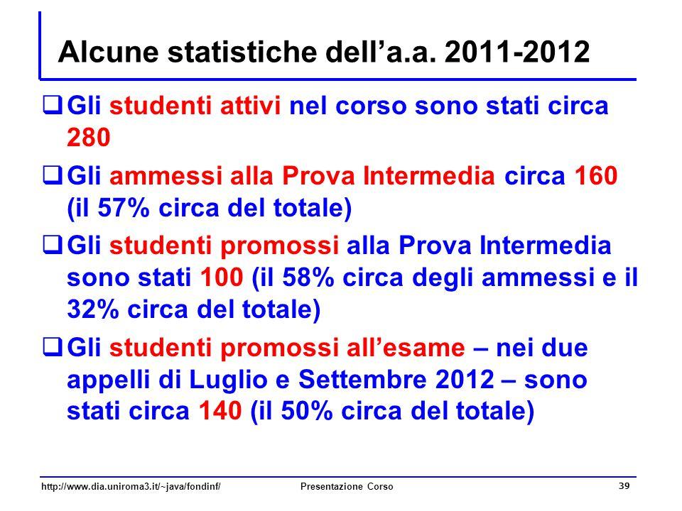 http://www.dia.uniroma3.it/~java/fondinf/Presentazione Corso 39 Alcune statistiche dell'a.a. 2011-2012  Gli studenti attivi nel corso sono stati circ