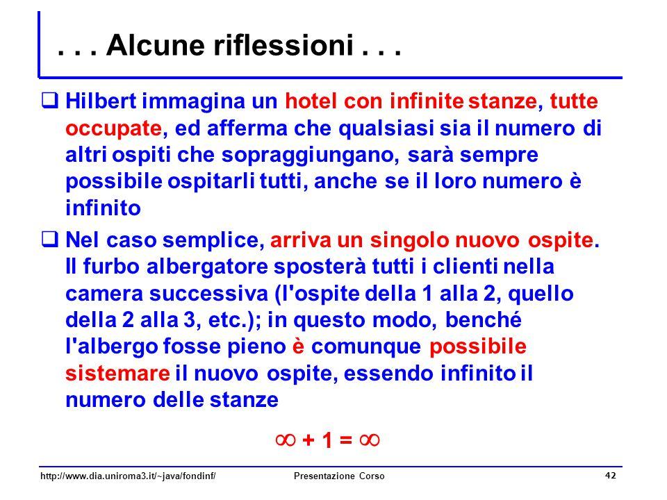 http://www.dia.uniroma3.it/~java/fondinf/Presentazione Corso 42... Alcune riflessioni...  Hilbert immagina un hotel con infinite stanze, tutte occupa