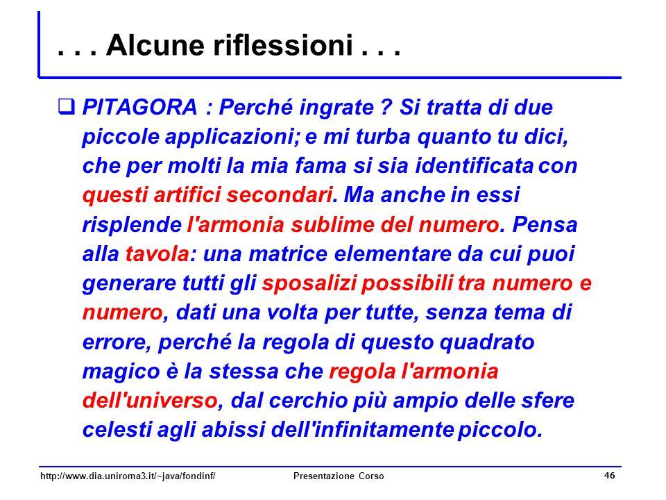 http://www.dia.uniroma3.it/~java/fondinf/Presentazione Corso 46... Alcune riflessioni...  PITAGORA : Perché ingrate ? Si tratta di due piccole applic
