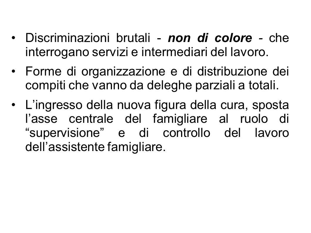 Discriminazioni brutali - non di colore - che interrogano servizi e intermediari del lavoro.