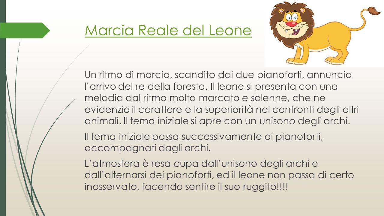 Marcia Reale del Leone Un ritmo di marcia, scandito dai due pianoforti, annuncia l'arrivo del re della foresta. Il leone si presenta con una melodia d