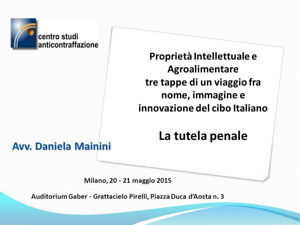 Avv. Daniela Mainini Milano, 20 - 21 maggio 2015 Auditorium Gaber - Grattacielo Pirelli, Piazza Duca d'Aosta n. 3 Proprietà Intellettuale e Agroalimen