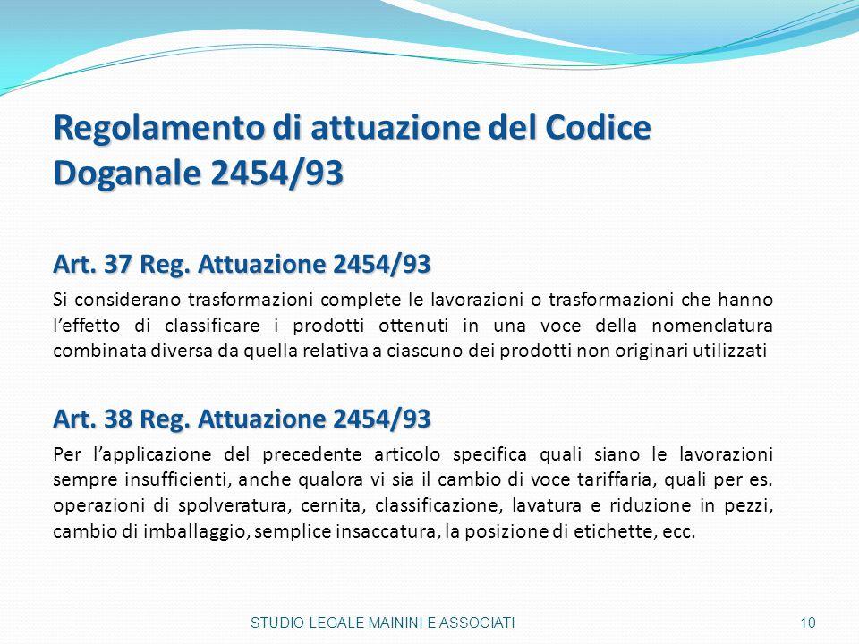Regolamento di attuazione del Codice Doganale 2454/93 Art. 37 Reg. Attuazione 2454/93 Si considerano trasformazioni complete le lavorazioni o trasform