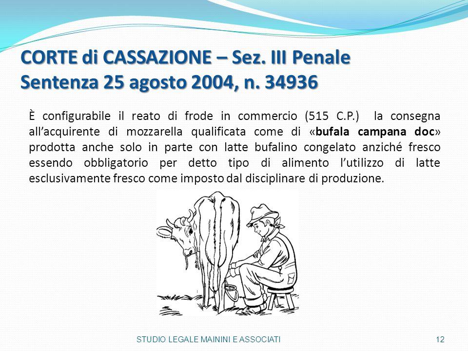 È configurabile il reato di frode in commercio (515 C.P.) la consegna all'acquirente di mozzarella qualificata come di «bufala campana doc» prodotta a