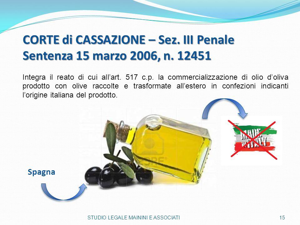 CORTE di CASSAZIONE – Sez. III Penale Sentenza 15 marzo 2006, n. 12451 Integra il reato di cui all'art. 517 c.p. la commercializzazione di olio d'oliv