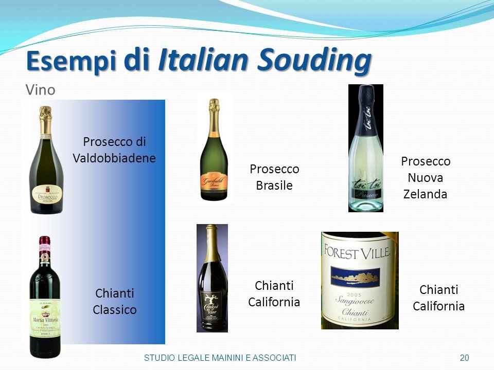 Esempi di Italian Souding Esempi di Italian Souding Vino Prosecco di Valdobbiadene Prosecco Nuova Zelanda Prosecco Brasile Chianti California Chianti