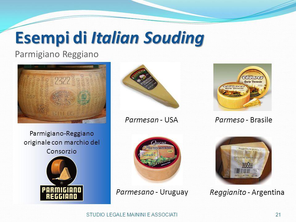 Esempi di Italian Souding Esempi di Italian Souding Parmigiano Reggiano Parmigiano-Reggiano originale con marchio del Consorzio Parmesan - USA Reggian