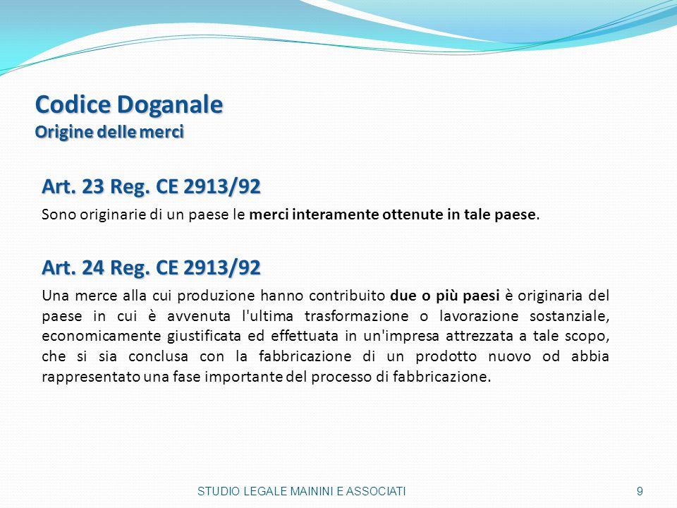 Codice Doganale Origine delle merci Art. 23 Reg. CE 2913/92 Sono originarie di un paese le merci interamente ottenute in tale paese. Art. 24 Reg. CE 2