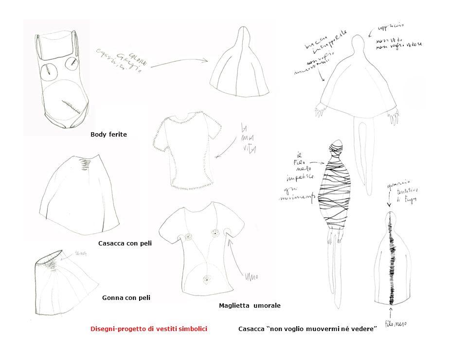 """Body ferite Gonna con peli Casacca """"non voglio muovermi né vedere""""Disegni-progetto di vestiti simbolici Casacca con peli Maglietta umorale"""