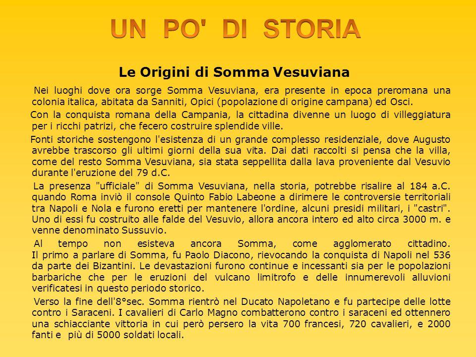 Le Origini di Somma Vesuviana Nei luoghi dove ora sorge Somma Vesuviana, era presente in epoca preromana una colonia italica, abitata da Sanniti, Opic