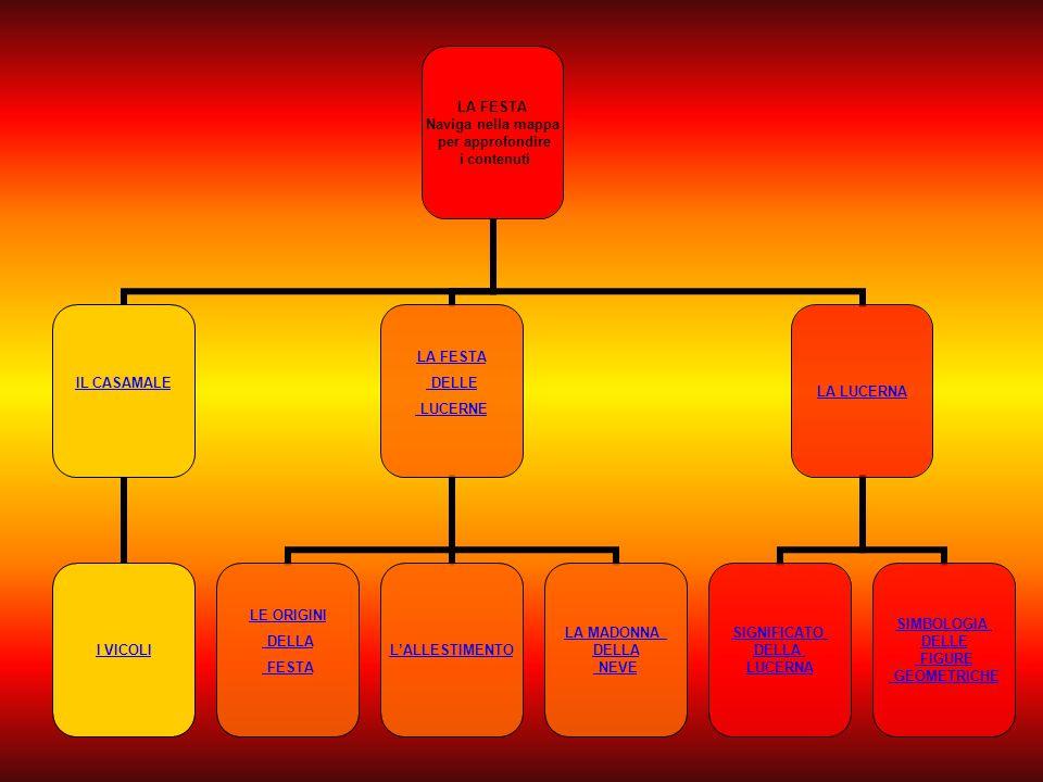 LA FESTA Naviga nella mappa per approfondire i contenuti IL CASAMALE I VICOLI LA FESTA DELLE LUCERNE LE ORIGINI DELLA FESTA L'ALLESTIMENTO LA MADONNA