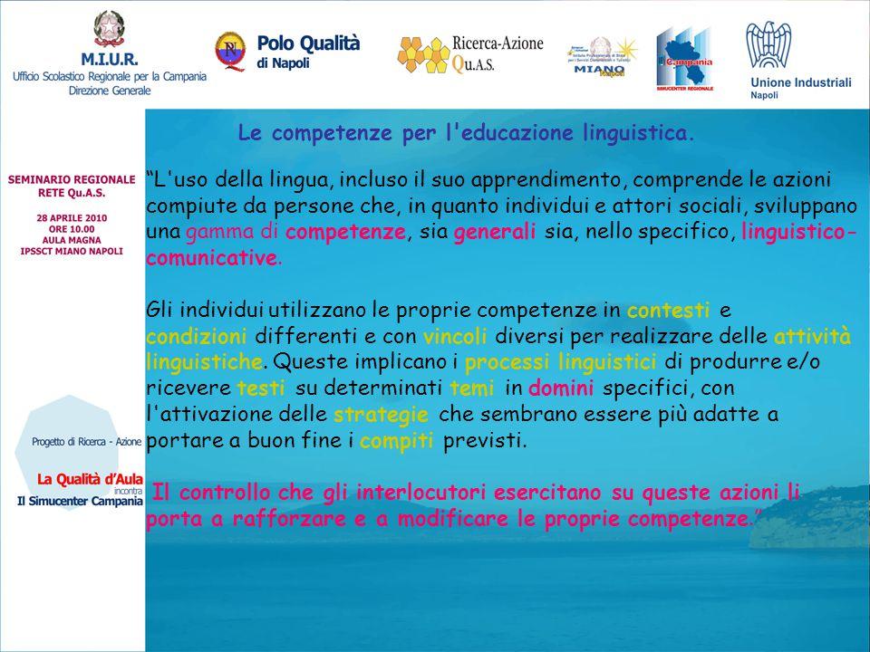 """Le competenze per l'educazione linguistica. """"L'uso della lingua, incluso il suo apprendimento, comprende le azioni compiute da persone che, in quanto"""