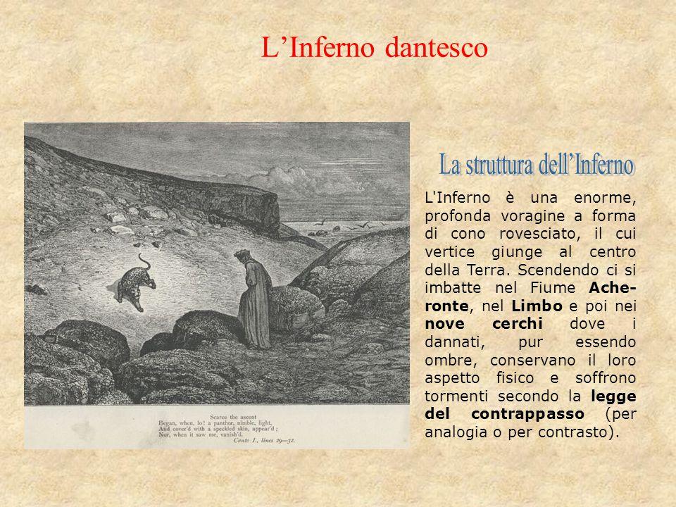 L'Inferno dantesco L'Inferno è una enorme, profonda voragine a forma di cono rovesciato, il cui vertice giunge al centro della Terra. Scendendo ci si
