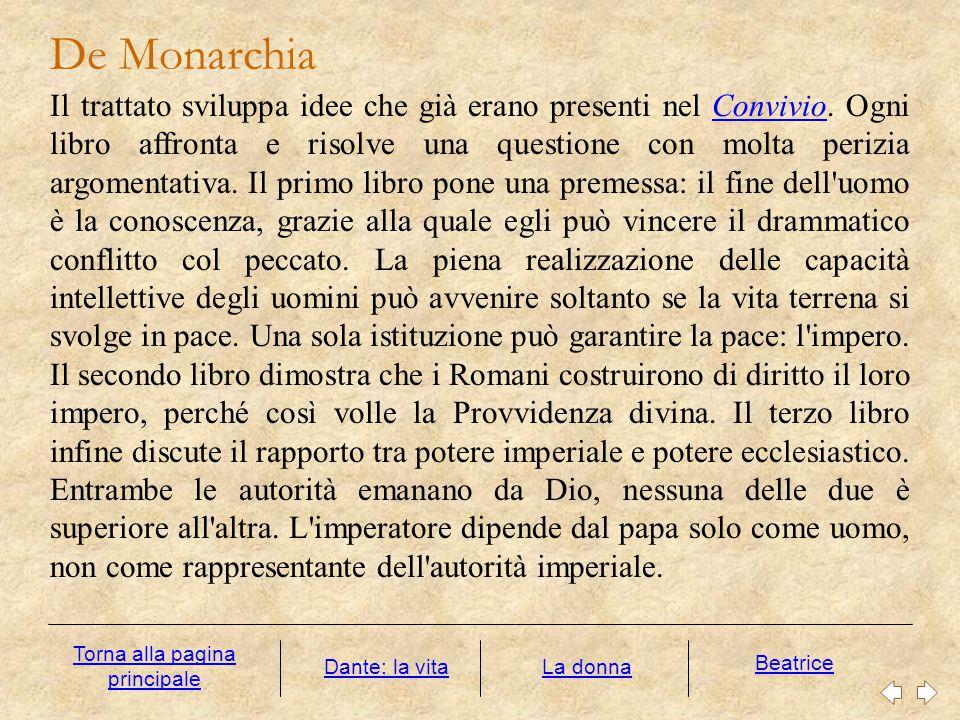 De Monarchia Il trattato sviluppa idee che già erano presenti nel Convivio. Ogni libro affronta e risolve una questione con molta perizia argomentativ