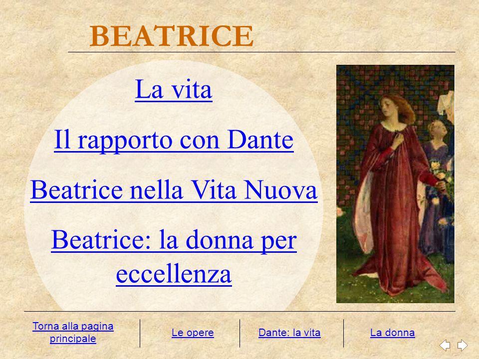 BEATRICE La donna La vita Il rapporto con Dante Beatrice nella Vita Nuova Beatrice: la donna per eccellenza Dante: la vita Torna alla pagina principal