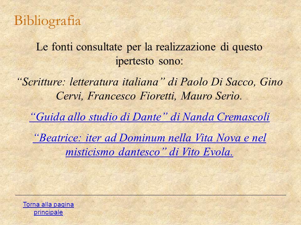 """Bibliografia Torna alla pagina principale Le fonti consultate per la realizzazione di questo ipertesto sono: """"Scritture: letteratura italiana"""" di Paol"""