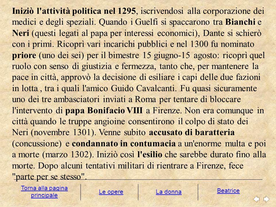 Iniziò l'attività politica nel 1295, iscrivendosi alla corporazione dei medici e degli speziali. Quando i Guelfi si spaccarono tra Bianchi e Neri (que