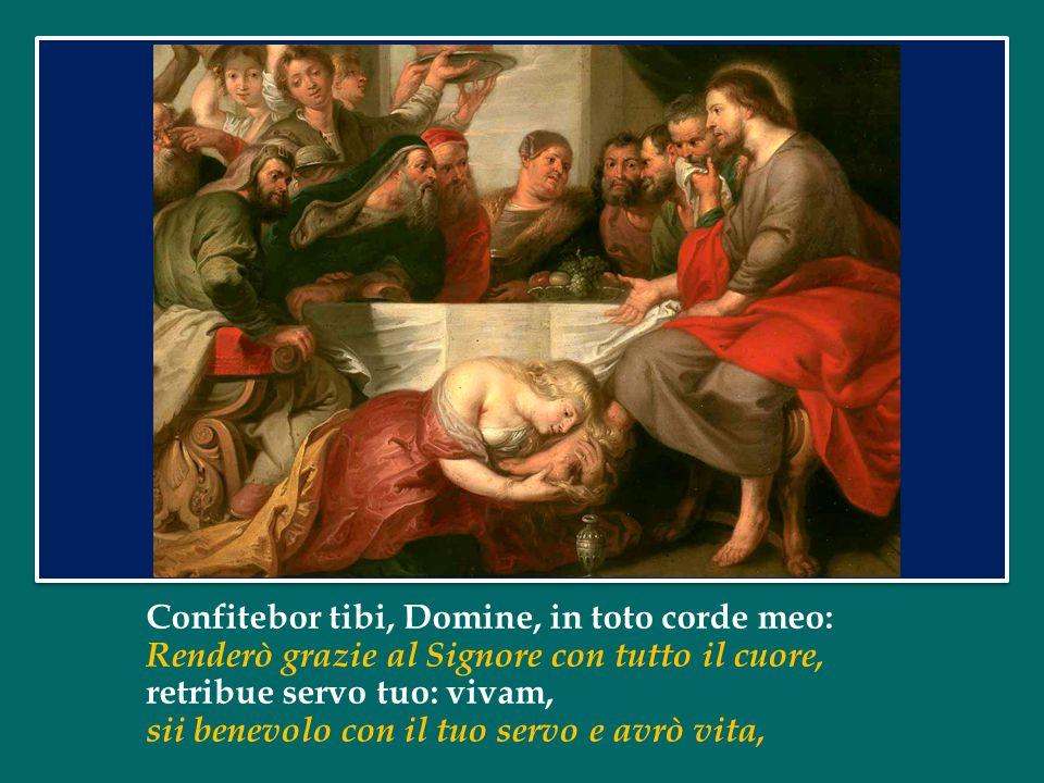 Confitebor tibi, Domine, in toto corde meo: Renderò grazie al Signore con tutto il cuore, retribue servo tuo: vivam, sii benevolo con il tuo servo e avrò vita,