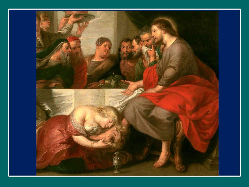 Il suo pianto di pentimento e di gioia lava i piedi del Maestro, e i suoi capelli li asciugano con gratitudine; i baci sono espressione del suo affetto puro; e l'unguento profumato versato in abbondanza attesta quanto Egli sia prezioso ai suoi occhi.