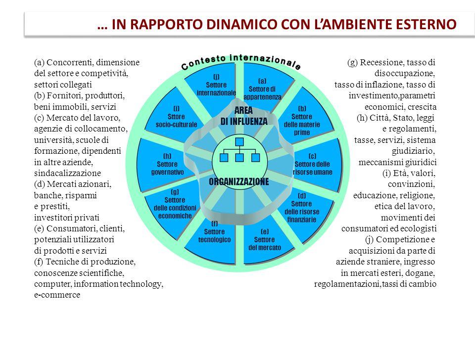 … IN RAPPORTO DINAMICO CON L'AMBIENTE ESTERNO (a) Concorrenti, dimensione del settore e competività, settori collegati (b) Fornitori, produttori, beni