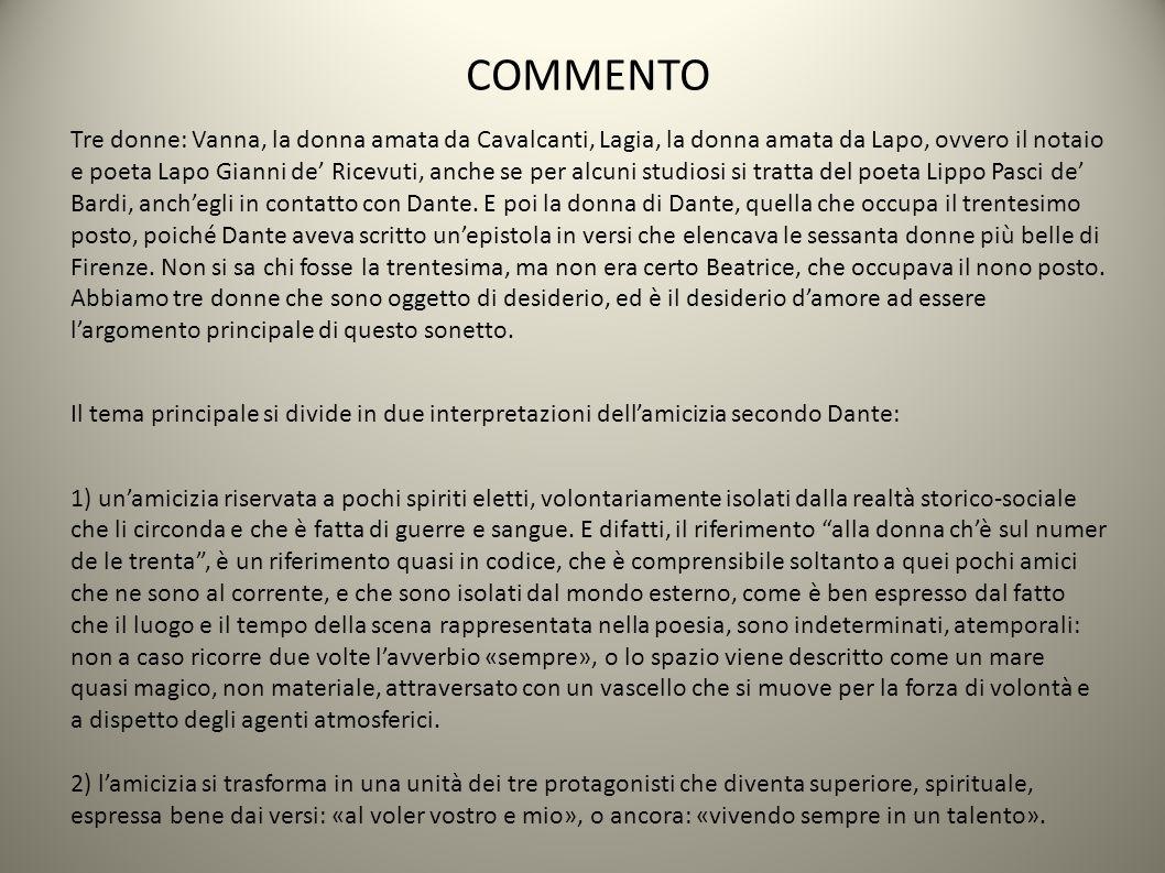 COMMENTO Tre donne: Vanna, la donna amata da Cavalcanti, Lagia, la donna amata da Lapo, ovvero il notaio e poeta Lapo Gianni de' Ricevuti, anche se per alcuni studiosi si tratta del poeta Lippo Pasci de' Bardi, anch'egli in contatto con Dante.