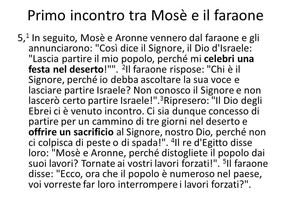 Primo incontro tra Mosè e il faraone 5, 1 In seguito, Mosè e Aronne vennero dal faraone e gli annunciarono: