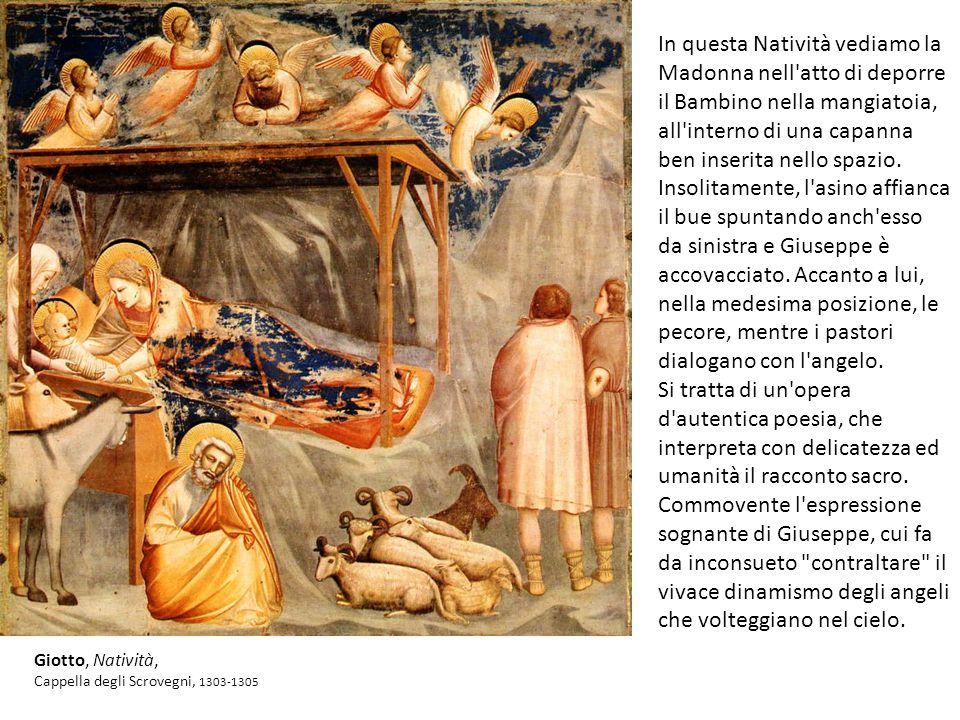 In questa Natività vediamo la Madonna nell atto di deporre il Bambino nella mangiatoia, all interno di una capanna ben inserita nello spazio.