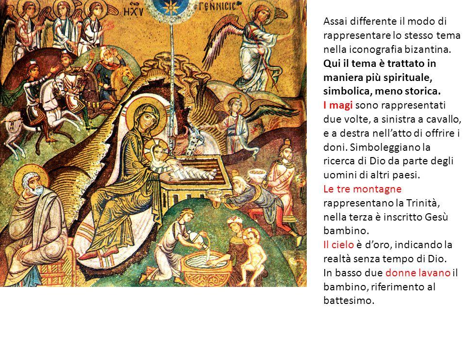 Assai differente il modo di rappresentare lo stesso tema nella iconografia bizantina.