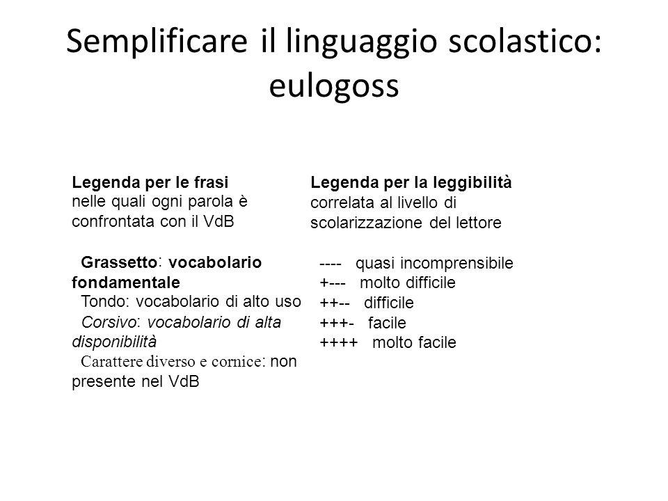 Semplificare il linguaggio scolastico: eulogoss Legenda per le frasi nelle quali ogni parola è confrontata con il VdB Grassetto: vocabolario fondament