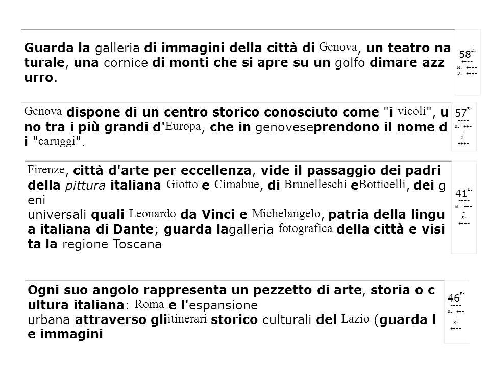 Guarda la galleria di immagini della città di Genova, un teatro na turale, una cornice di monti che si apre su un golfo dimare azz urro. 58E: +--- M: