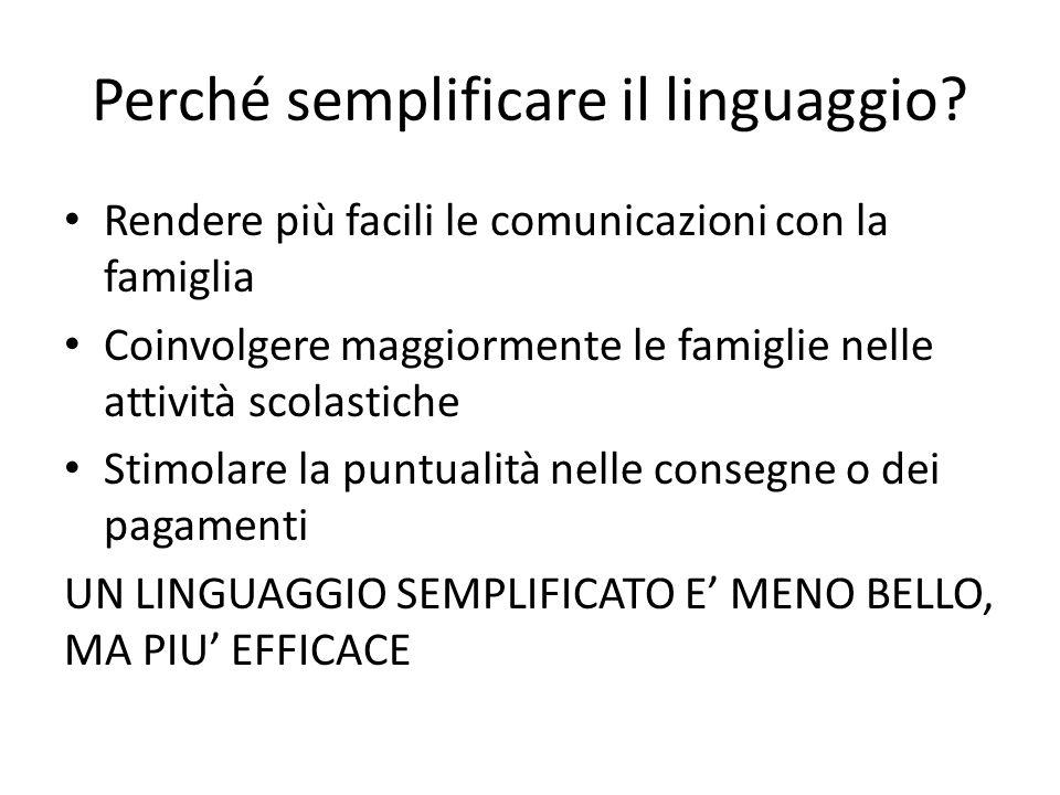Perché semplificare il linguaggio? Rendere più facili le comunicazioni con la famiglia Coinvolgere maggiormente le famiglie nelle attività scolastiche