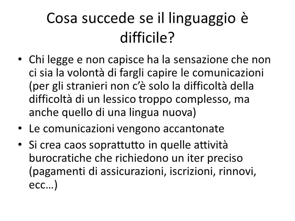 Cosa succede se il linguaggio è difficile? Chi legge e non capisce ha la sensazione che non ci sia la volontà di fargli capire le comunicazioni (per g